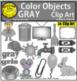 Gray Color Objects Clip Art English & Spanish Personal and Commercial Use