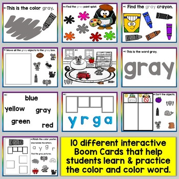 Gray Color Recognition Color Word Boom Cards (Learning Colors - Gray)