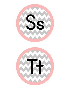 Chevron Word Wall  Alphabet Labels (Gray & Coral)