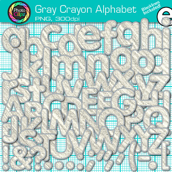 Gray Crayon Alphabet Clip Art {Great for Classroom Decor & Resources}