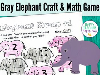 Gray Elephant Craft & Math Game: Pre-K, Transitional Kinder, & Kinder