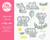 Gray Elephant clipart with 14 elements angel clipart yellow green
