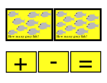 Gray Fish How Many Addition Numbers To 10 Printable Cards Math Subtraction 3pgs