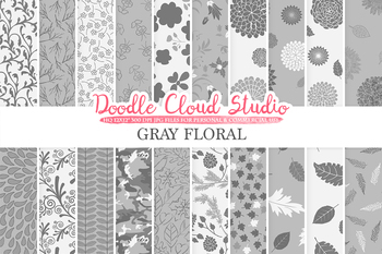 Gray Floral digital paper, Grey Floral patterns, Flowers, Dhalia, Leaves