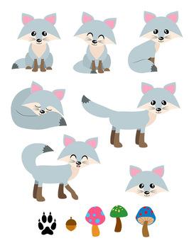 Gray Foxes Clipart, Silver Fox Clipart, Cute Fox Clipart, Winter Clipart, Animal