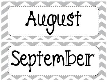 Gray/Grey Chevron Classroom Calendar