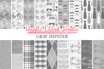 Gray Hipster digital paper, Vintage Retro patterns, Father's day