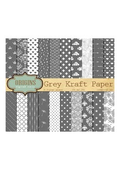 Gray Kraft Digital Paper, Grey Scrapbook Paper Textured Backgrounds