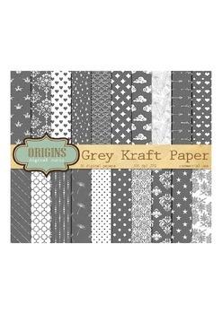 Gray Kraft Digital Paper, Grey Scrapbook Paper Textured Ba