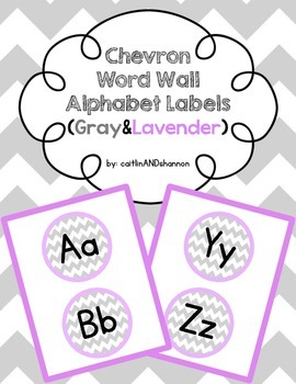 Chevron Word Wall Alphabet Labels (Gray & Lavender)