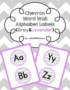 Chevron Word Wall Alphabet Labels (Gray & Lavender)