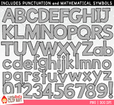 Gray Letters and Numbers Clip Art