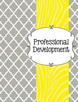 Gray Moroccan and Wild Yellow Zebra Teacher Binder
