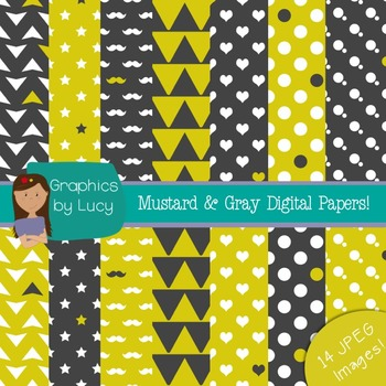 Gray & Green Mustard Digital Paper 14 JPEG Images {Personal & Commercial Use}