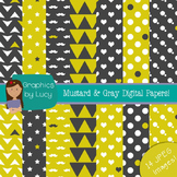Gray & Green Mustard Digital Paper 14 JPEG Images {Persona