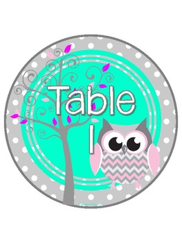 Gray Owl Themed Table and Center Signs