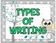 Gray Owl Themed Types of Writing Posters