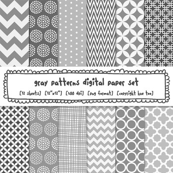 Gray Patterns Digital Backgrounds, Gray Digital Paper for TpT Sellers