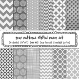 Gray Patterns Digital Backgrounds, Gray Digital Paper for