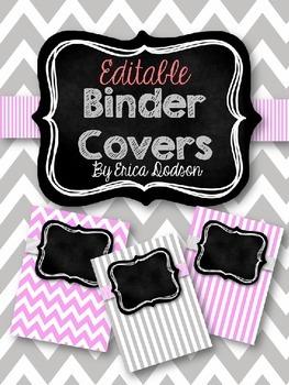 Gray & Pink Chevron with Chalkboard Teacher Binder Covers