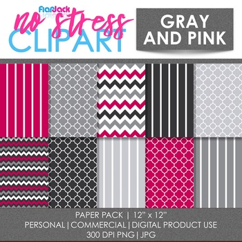 Gray Pink Digital Papers