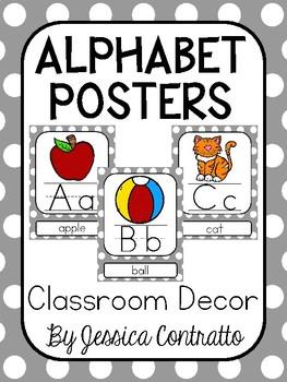 Gray Polka Dot ABC Posters