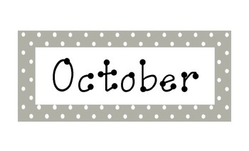 Gray Polka Dot Calendar Months