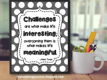 Mark Twain Quote Poster, Polka Dot Classroom Decor, Inspirational Quote