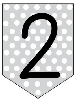 Gray Polka Dot Pennant Banners