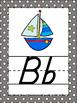 Gray Polka Dots Themed Alphabet Posters Handwriting DNealian anchor GREY