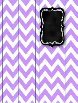 Gray & Purple Chevron with Chalkboard Teacher Binder Covers & Spines *EDITABLE*