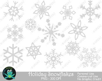 Gray Snowflakes {Upzaz Digital Clipart}