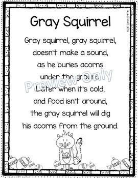 Gray Squirrel - Printable Poem for Kids
