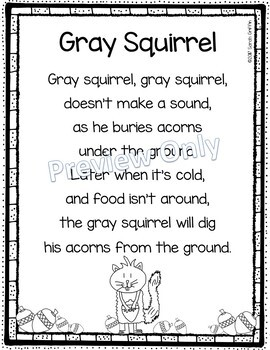 picture regarding Printable Poem identify Grey Squirrel - Printable Poem for Young children