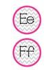 Gray-Strawberry Chevron Alphabet Word Wall Labels