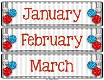 Gray Stripe & Red, White & Blue Pom Poms Classroom Calendar Pack