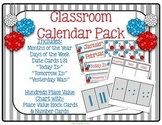 Gray Stripe & Red, White & Blue Pom Poms Classroom Calendar Pack
