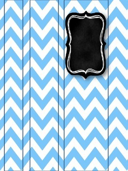 Gray & Turquoise Chevron with Chalkboard Binder Covers & Spines *EDITABLE*