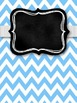 Gray & Turquoise Chevron with Chalkboard Binder Covers & S