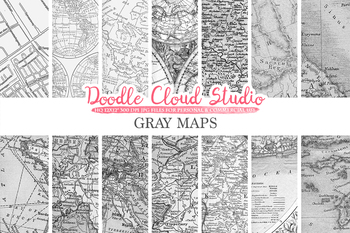 Gray Vintage Maps digital paper, Old Maps, Modern Maps, Historical Maps