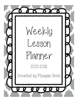 Gray Weekly Lesson Planner for Binder for 2015-2016