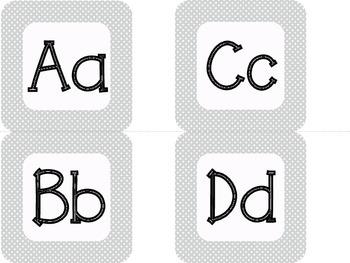 Gray & White Polka Dot Alphabet & Number Cards