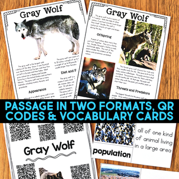 Gray Wolf Informational Article, Website Research & Comprehension Activities