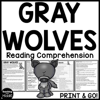 Gray Wolves Informational Text Reading Comprehension Worksheet- Call of the Wild