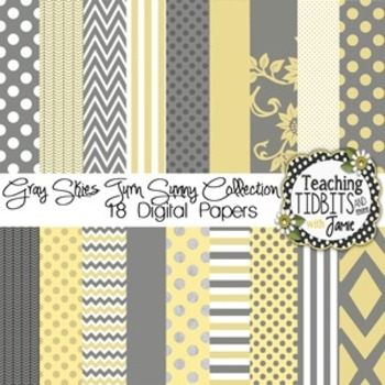 Digital Papers - Gray & Yellow 12X12 {Personal and Commerc