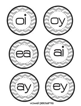 Gray & Yellow Chevron Phonics Circles {editable}