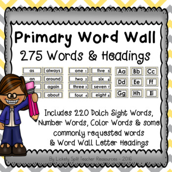 Gray & Yellow Primary Word Wall Set - 275 Words with Letter Headings