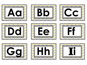 Primary Word Wall Set Gray and Yellow - 275 Words with Letter Headings