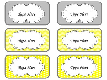 Toolbox Labels (Editable) ~ Gray & Yellow