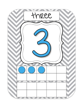 Gray, Yellow, Turquoise Chevron Number Posters